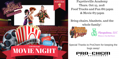 Movie Night header for Fayetteville Academy