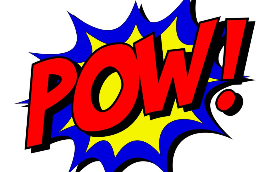 """Comic book word """"Pow!"""" in red with blue and yellow background"""