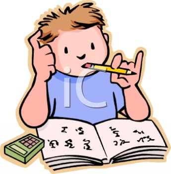 Cartoon graphic, boy student thinking with a pencil in his mouth, a calculator and book in front of him