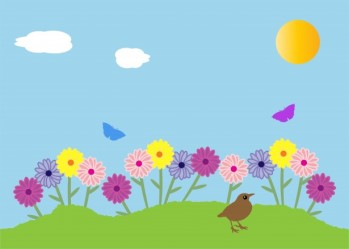 cartoon graphic with bird, butterflies, sun, sky, grass, and multicolored flowers