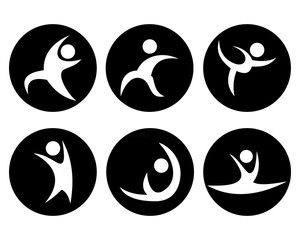 six abstract gymnastics icons, white with black background
