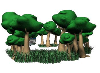 cartoon graphic of grass and trees