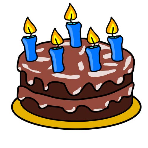 cartoon graphic of a chocolate cake with chocolate frosting, 5 blue lit birthday candles, on a yellow plate