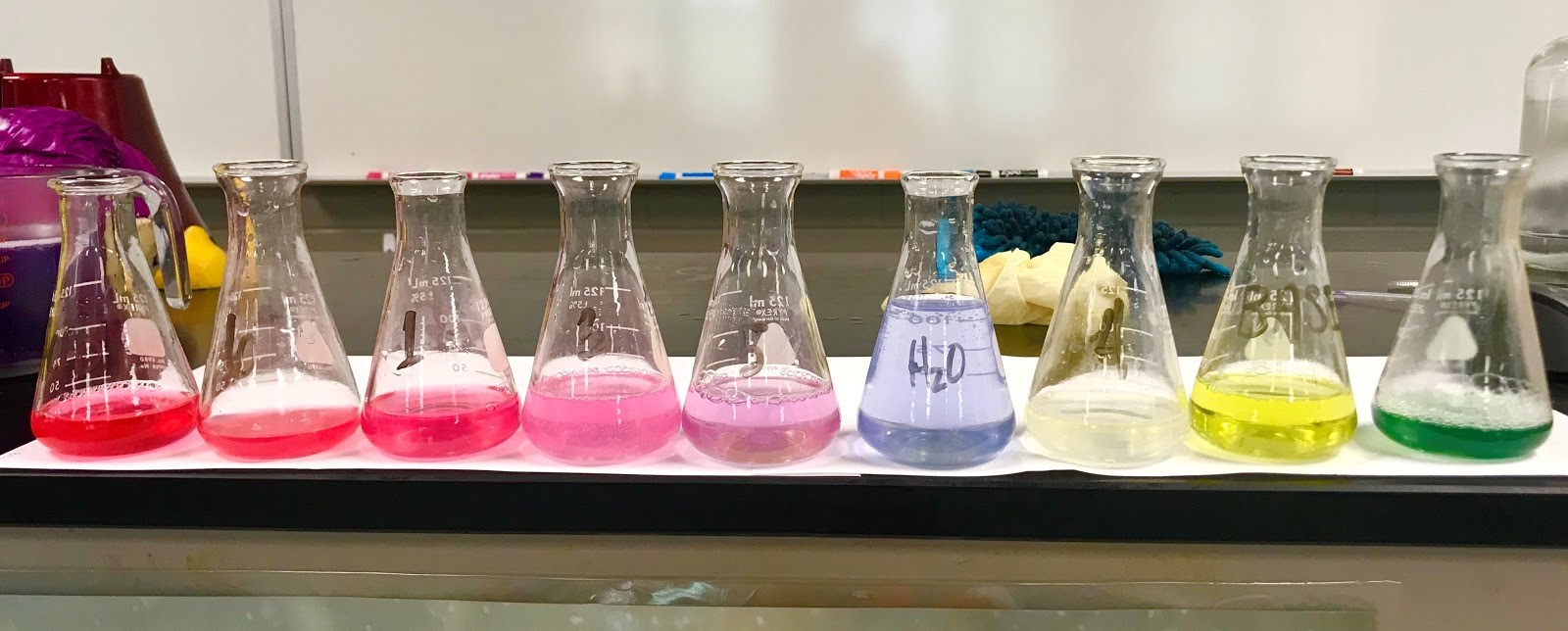 photograph of nine chemistry flasks, each with a different color liquid, on a desk