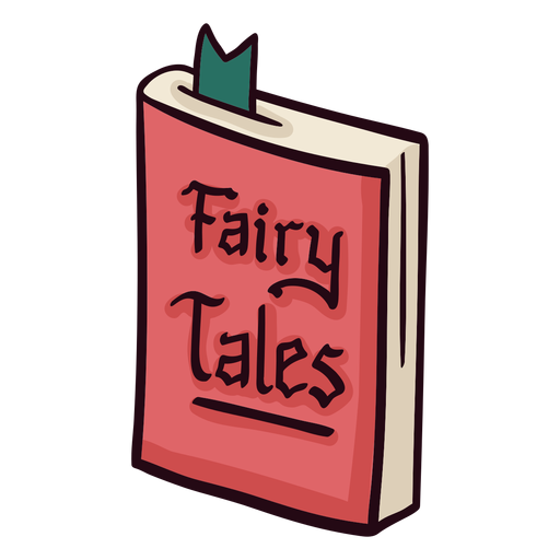 cartoon graphic of a book titled fairy tales