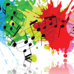 Musical notes with watercolor background